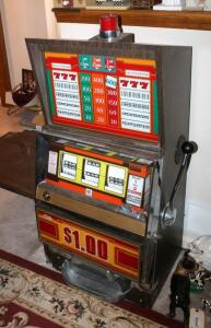 "Bally Silver Dollar Slot Machine, Model 1090-E, 46"" x 21.25"" x 18.5"" Lights Up But Reels Don't Spin, Needs Repair, Includes Stand 18"" x 24"" x 18"""