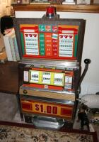 "Bally Silver Dollar Slot Machine, Model 1090-E, 46"" x 21.25"" x 18.5"" Lights Up But Reels Don't Spin, Needs Repair, Includes Stand 18"" x 24"" x 18"" - 2"
