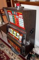 "Bally Silver Dollar Slot Machine, Model 1090-E, 46"" x 21.25"" x 18.5"" Lights Up But Reels Don't Spin, Needs Repair, Includes Stand 18"" x 24"" x 18"" - 3"