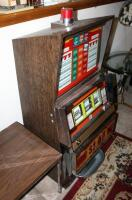"Bally Silver Dollar Slot Machine, Model 1090-E, 46"" x 21.25"" x 18.5"" Lights Up But Reels Don't Spin, Needs Repair, Includes Stand 18"" x 24"" x 18"" - 5"