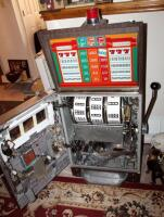 "Bally Silver Dollar Slot Machine, Model 1090-E, 46"" x 21.25"" x 18.5"" Lights Up But Reels Don't Spin, Needs Repair, Includes Stand 18"" x 24"" x 18"" - 7"