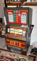 "Bally Silver Dollar Slot Machine, Model 1090-E, 46"" x 21.25"" x 18.5"" Lights Up But Reels Don't Spin, Needs Repair, Includes Stand 18"" x 24"" x 18"" - 8"