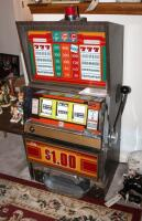 "Bally Silver Dollar Slot Machine, Model 1090-E, 46"" x 21.25"" x 18.5"" Lights Up But Reels Don't Spin, Needs Repair, Includes Stand 18"" x 24"" x 18"" - 9"
