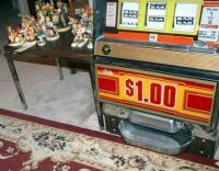 "Bally Silver Dollar Slot Machine, Model 1090-E, 46"" x 21.25"" x 18.5"" Lights Up But Reels Don't Spin, Needs Repair, Includes Stand 18"" x 24"" x 18"" - 10"