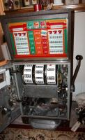 "Bally Silver Dollar Slot Machine, Model 1090-E, 46"" x 21.25"" x 18.5"" Lights Up But Reels Don't Spin, Needs Repair, Includes Stand 18"" x 24"" x 18"" - 12"