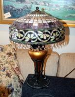 "Stained Glass Style Table Lamps With Beaded Iridescent Shades And Claw Feet, Qty 2, 24"" Tall x 16"" Round, Includes 24"" Round Side Table With Crocheted Tablecloth - 2"