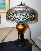 "Stained Glass Style Table Lamps With Beaded Iridescent Shades And Claw Feet, Qty 2, 24"" Tall x 16"" Round, Includes 24"" Round Side Table With Crocheted Tablecloth - 3"