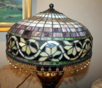 "Stained Glass Style Table Lamps With Beaded Iridescent Shades And Claw Feet, Qty 2, 24"" Tall x 16"" Round, Includes 24"" Round Side Table With Crocheted Tablecloth - 5"