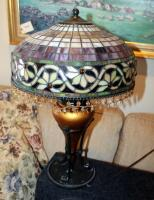 "Stained Glass Style Table Lamps With Beaded Iridescent Shades And Claw Feet, Qty 2, 24"" Tall x 16"" Round, Includes 24"" Round Side Table With Crocheted Tablecloth - 6"