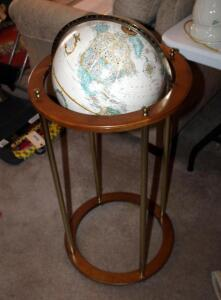 "Replogle Globes Inc. Classic Globe On Wood Stand With Brass Accents, 38"" Tall"