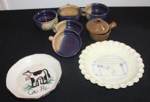 "Pottery Collection Including ""Cecil"" Signed Bowls With Handles Qty 4, Signed ""Cow Pie"" Pie Plate, And Deep Dish Pie Plate With Unknown Mark"