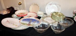 China And Glass Serving Pieces Including Bowls, Platters, Dishes, Pie Plates, And More, Names Include Emile Henry, Pioneer Woman, Lefton, Lenox, Denby, English Ironstone, And More, Total Qty 14