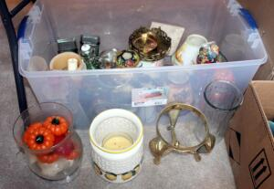 Candle Assortment And Ceramic And Glass Candleholders, Contents Of 3 Boxes