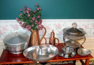 Hammered Aluminum Lidded Serving Bowl Made In Italy, RLM Home Aluminum Chip And Dip Serving Bowl, Metal Serving Bowls With Tray And Spoon, Silver Plate Warmer/Chafing Dish, And Copper/Brass Finish Pitchers Qty 2, Contents Of Tabletop