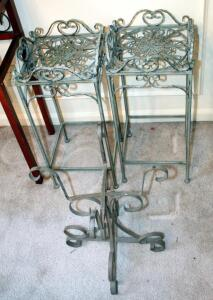 "Matching Metal Plant Stands, Qty 2, 25"" x 11"" x 10.75"", And Scroll Design Plant Stand, 18.5"" x 16"" x 11"""