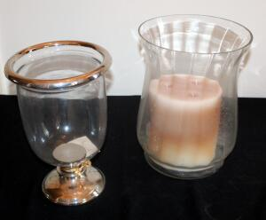 "Nell Hills Silver Finish Glass Hurricane 11.5"" x 7.5"" And 3-Wick Candle With 11.75"" x 8.5"" Fluted Glass Holder"