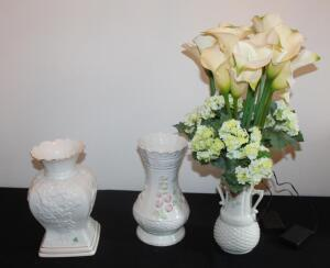 "Belleek Porcelain Vases Qty 2, 10.25"" Tall And 9.5"" Tall, And Handled Ceramic Vase With Faux Battery Operated Flowers"