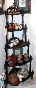 Bird Lovers Collection Including Rustic Carved Wood Decorative Decoy And Tray, Ceramic Birds, Bird Under Glass Cloche, Small Wood Birds, And Hummingbird Framed Prints Qty 2, Contents Of Display Stand And Wall