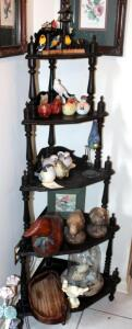 "Vintage Turned Wood Corner Curio With 5 Shelves, 58"" x 26"" x 17.5"", Contents Not Included"