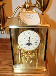 German Made Square Case Quartz Anniversary Clock With Day, Date, Moon Phase, And Westminster Chimes