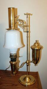 "Brass And Milk Glass Reproduction Oil Lamp, 32.25"" Tall x 16"" Wide"