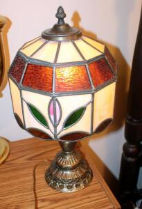 "Leaded Glass Shade Lamp With Metal Base, 19.5"" Tall"