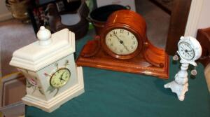 Vintage Style Lorichron Battery Operated Mantle Clock With Westminster Chime, Iron Clock Stand With Quartz Clock, And Floral Quartz Mantle Clock