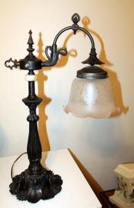 "Victorian Style Black Metal Lamp With Glass Etched Pink Edged Shade, 26.5"" Tall"