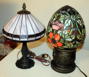 "Egg Shaped Leaded Glass Style Lamp 15"" Tall, And Leaded Glass Lamp With Metal Base 14.5"" Tall"