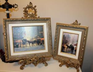 "Ornately Framed Canvas Prints Of Street Scenes With Metal Easels, Qty 2, Prints Measure 12"" x 10"" And 13"" x 15"""