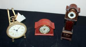 Novelty Clock Assortment Including Grandfather, Mantle, And Pocket Watch Styles, All Battery Operated