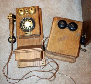 Reproduction Oak Wall Phone With Rotary Dial, And Vintage Ringer Box (No Manufacturer)