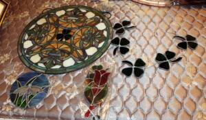 "Stained Glass Decor Including 18.5"" Round With Irish Theme, Shamrock Sun Catcher (Needs Repair), 6.5"" Round Dragonfly, And Floral Suncatchers"