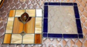 "Leaded Stained Glass Window Hangings, One With Blue And Etched Clear Glass 13"" x 11"", And One With Opaque Earthtone Colors 11.75"" x 10.5"""
