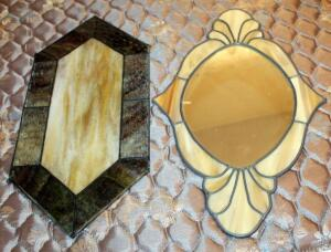 "Textured Leaded Stained Glass Diamond Shaped Window Hanging 21.5"" x 9.25"", And Leaded Opaque Stained Glass Wall Mirror 21.5"" x 12.5"""