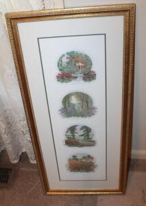 "Framed Matted Under Glass Botanical Print With Embossed Accents And Gold Wash Frame, 34.75"" x 16.25"""