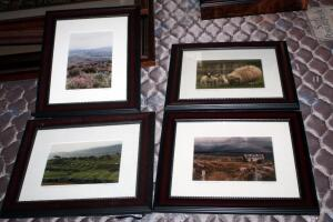 "Framed, Matted Under Glass, Irish Landscape Prints, Signed By The Artist R. Hendersen, 10.25"" x 12.25"", Qty 4"