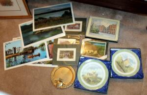 "Irish Wexford Town Pottery Castle Collector Plates Qty 2, One Is First 1st Edition, 10.5"" Round, In Original Boxes, Boxed Irish Heritage Mats With Cork Backs By Pimpernel 9"" x 12"" Qty 6, Matted Irish Prints By Phillip Gray 8"" x 10"" Qty 3, Irish Scene Tabl"