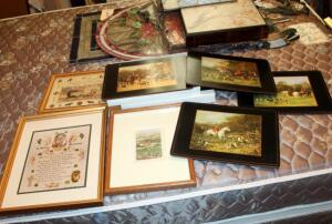 "Framed, Matted Under Glass, Prints Including House Blessing And Irish Theme, Qty 3, 15"" x 12"", 13"" x 9.75"", And 9.5"" x 11.5"", And Pimpernel Hunt Print Cork Backed Mats, Qty 6, 9"" x 12"", In Original Box"