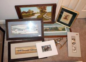 Framed Art Collection Including Local Artist Lou Fuller Qty 2, Wilma McCommond, Signed Bill Coleman Art Piece Numbered 250/350, 2 Unmatted Art Pieces, And Easels Qty 3