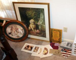 "Dog Themed Art Collection Including Framed, Matted Under Glass, 32"" x 28"", Oval Ornately Framed 19"" x 24"" Print, And More"