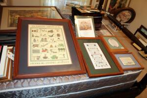"Framed Folk Art Collection Prints, 28"" x 22.5"", 22"" x 13.25"", 13"" x 11.25"", 9"" x 11"", And One Unframed And Matted Print"