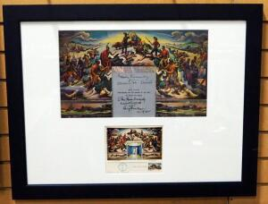 Harry Truman And Thomas Hart Benton Signed Truman Library Mural Foldout, First Date Of Issue Stamp Signed By Artist And Post Card, Framed