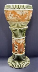 "Roseville Pottery Donatello Pattern Jardiniere And Pedestal, Circa 1916, Approx 29"" High When Together"