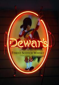 "Dewar's Finest Scotch Whisky Neon Sign, 14"" Wide x 20.75"" High, Powers On"