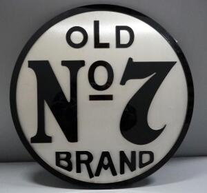 "Old No7 Brand Brushed Metal And Acrylic Wall Hang, 23.5"" Dia."