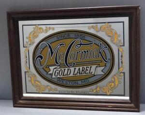 "McCormick Gold Label Bourbon Bar Mirror, 29"" Wide x 22"" High"
