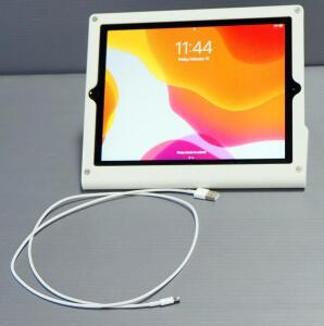 Apple iPad 7th Gen Model MW742LL/A Mounted In Stand, 32G, Passwords Known, Powers On, Charging Cord Included