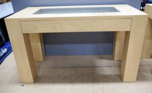 "Display Table With Single Pullout Drawer And Clear Glass Display Top Insert, 42.5"" High x 72"" Wide x 35"" Deep"