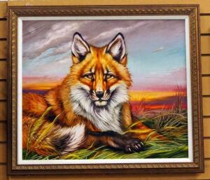 "Martin Katon ""North American Red Fox"" Canvas Giclee, Signed By Artist, Framed, 27.75"" Wide x 24"" High"